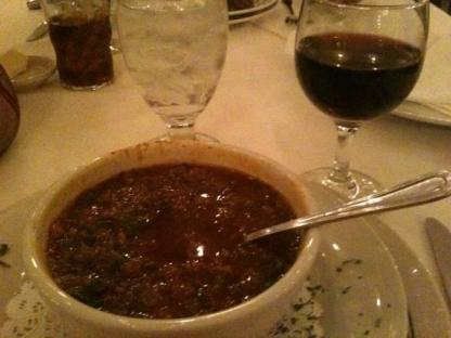 I was feeling adventurous when I ordered gator soup  from Antoine's . It was yummy !