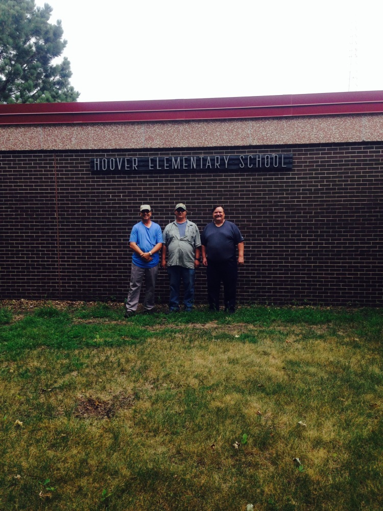 My dad, my uncle Tony (expert fisherman), and my uncle Rick (the best tour guide ever!) in front of their old elementary school.