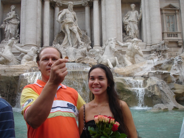Dad and I throwing our coins into the Trevi Fountain