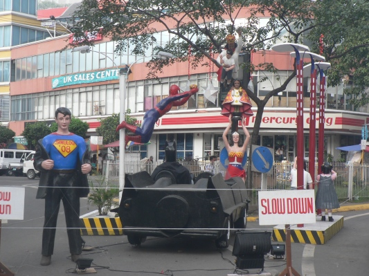 Remnants of the Sinulog Festival. Superman, Wonder Woman, and Spider Man were special guests!